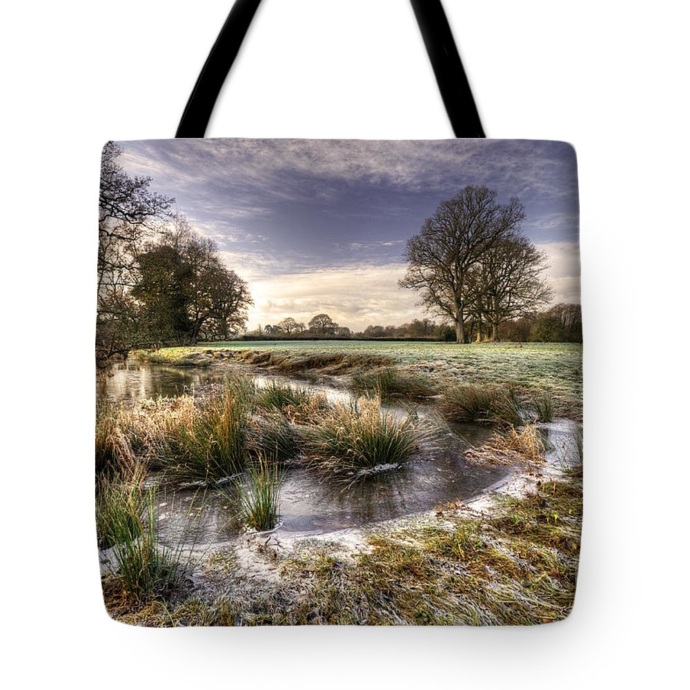 Frost Tote Bag featuring the photograph the Frosty Field by Rob Hawkins