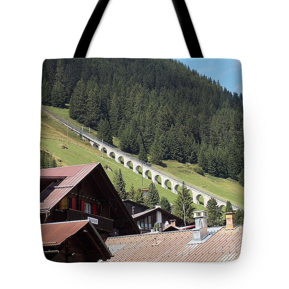 Funicular Tote Bag featuring the photograph The Funicular In Murren by Nina Kindred