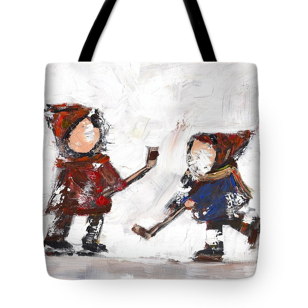 Hockey Tote Bag featuring the painting The Game by David Dossett