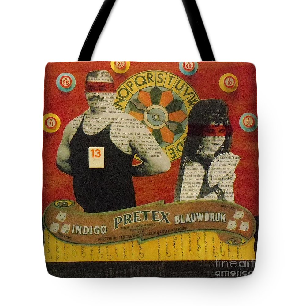 Assemblage Tote Bag featuring the mixed media The Game Of Love by Desiree Paquette