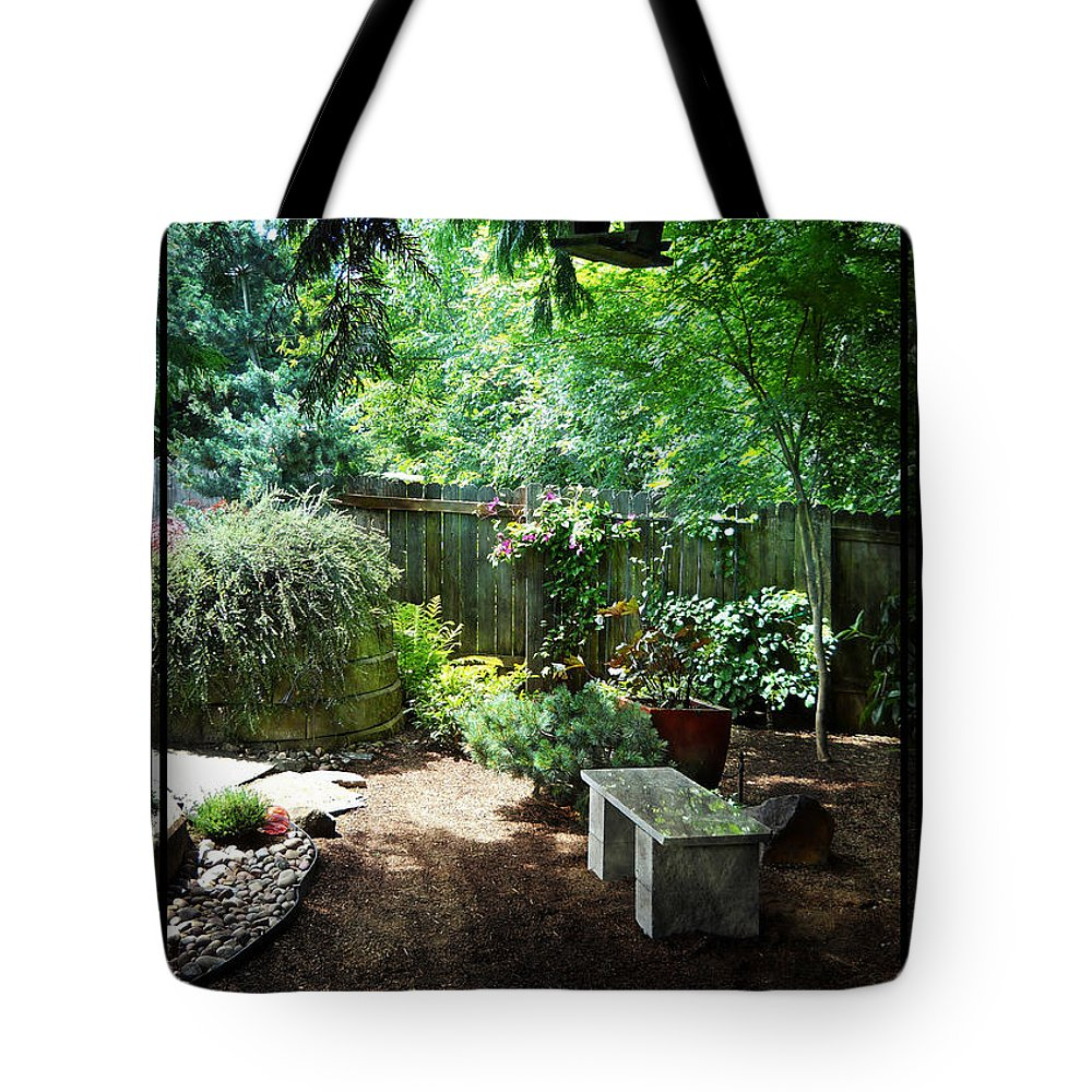 Bench Tote Bag featuring the photograph The Garden Bench by Artzmakerz