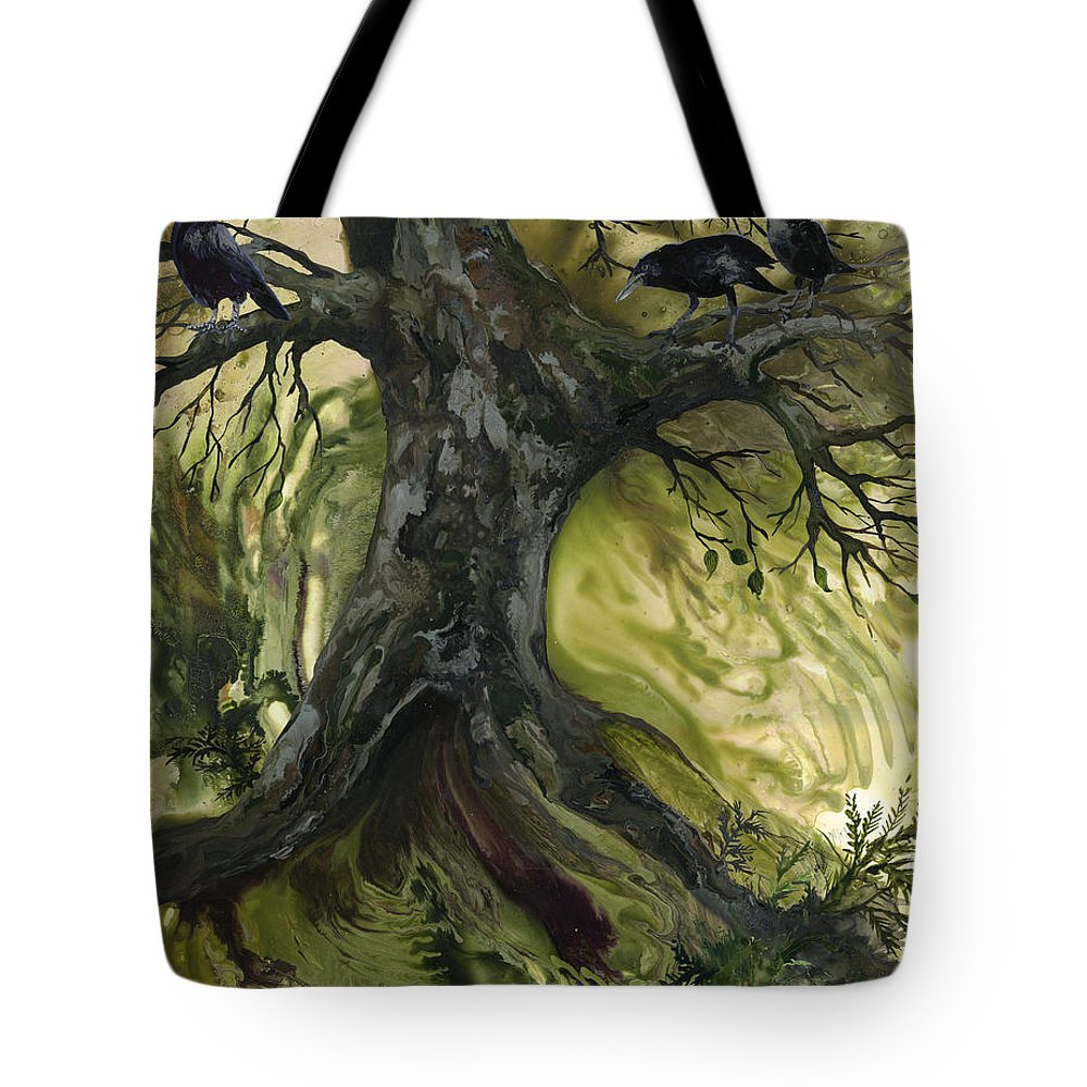 Tree Tote Bag featuring the painting The Gathering Tree by Sherry Shipley