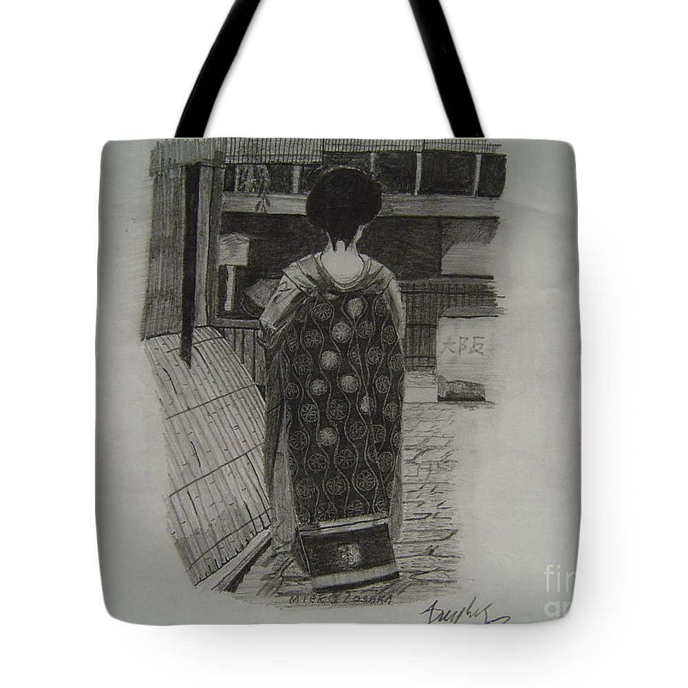 Geisha Tote Bag featuring the drawing The Geisha by Anthony Dunphy