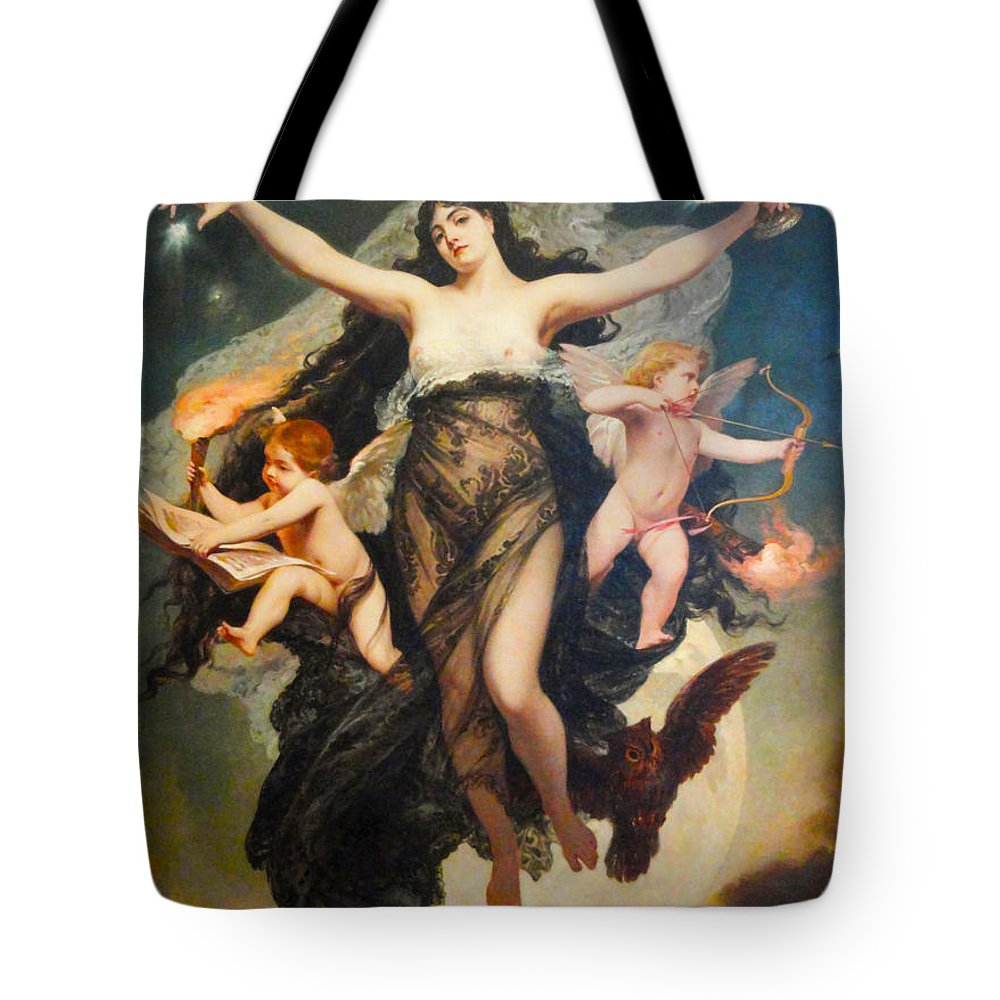 Pedro Americo Tote Bag featuring the digital art The Genie Of Study And Love by Pedro Americo