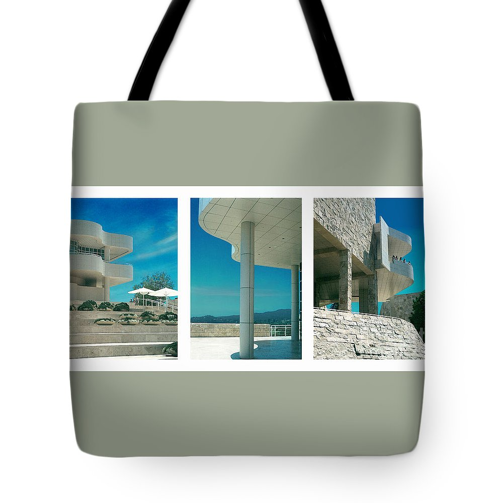 Abstract Tote Bag featuring the photograph The Getty Triptych by Steve Karol