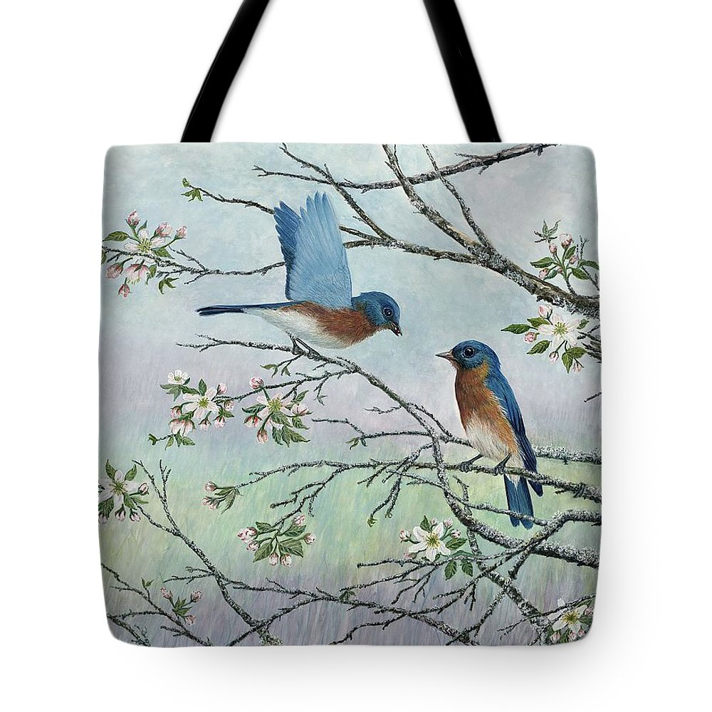 Bluebirds; Trees; Wildlife Tote Bag featuring the painting The Gift by Ben Kiger