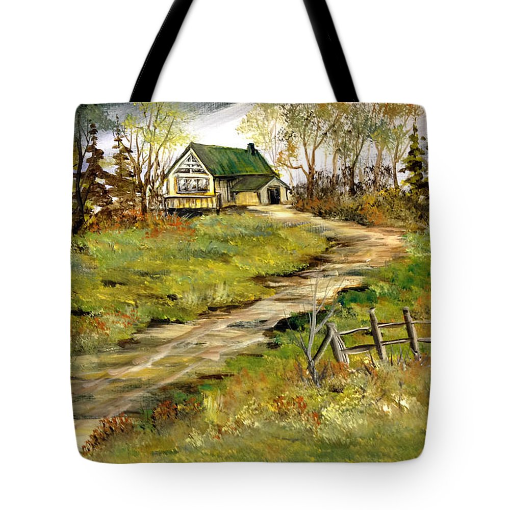 Cabin Paint Tote Bag featuring the painting The Gilbert's House by Dorothy Maier