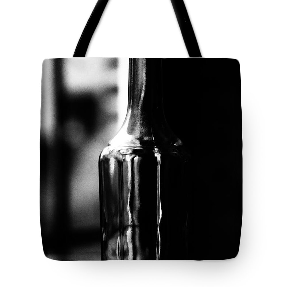 Empty Brandy Bottle Tote Bag featuring the photograph The Glass May Be Half Full by Brothers Beerens