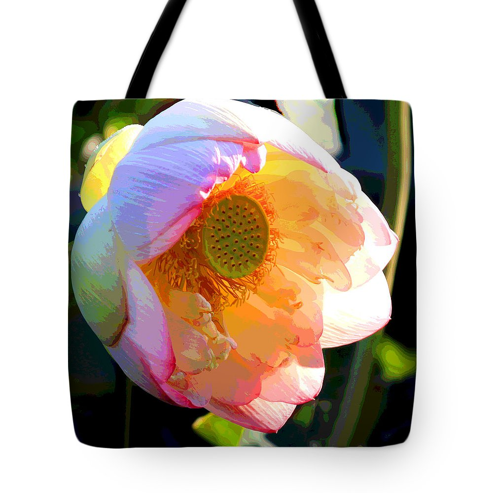 Lotus Tote Bag featuring the painting The Glow of the Lotus by John Lautermilch