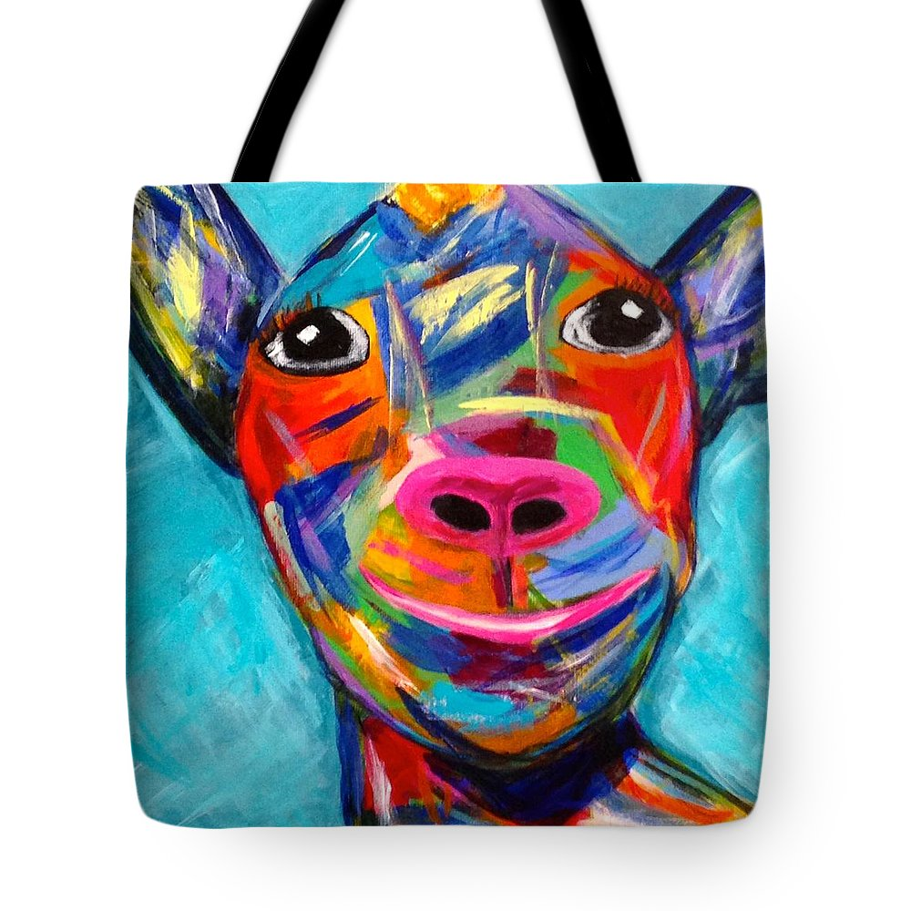 Animal Tote Bag featuring the painting The Goat by Pennie DesJardins