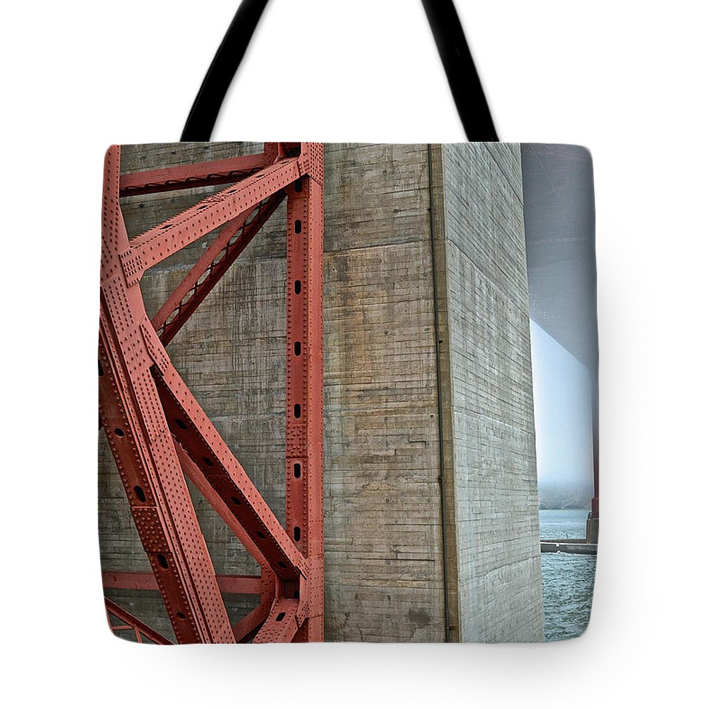 Golden Gate Tote Bag featuring the photograph The Golden Gate - Fort Point View by Bill Owen