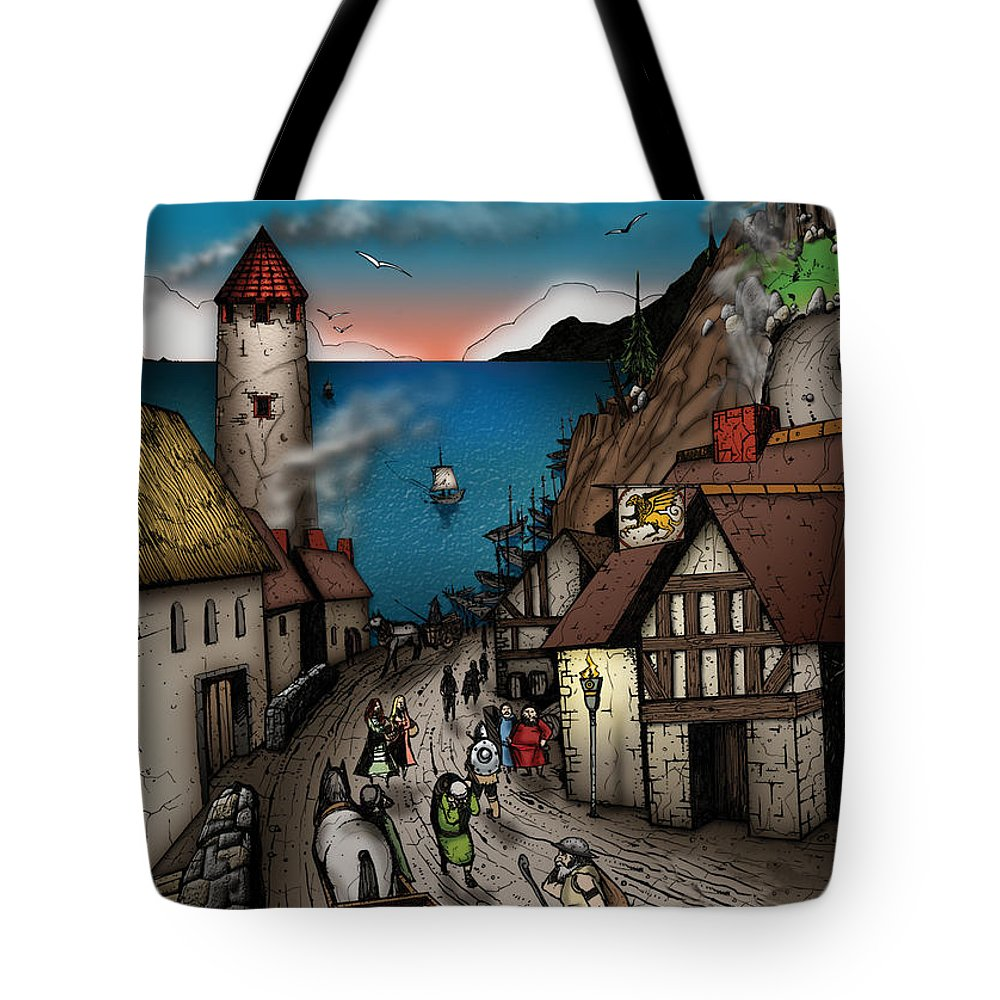Usherwood Tote Bag featuring the digital art The Golden Hippogriff by James Kramer