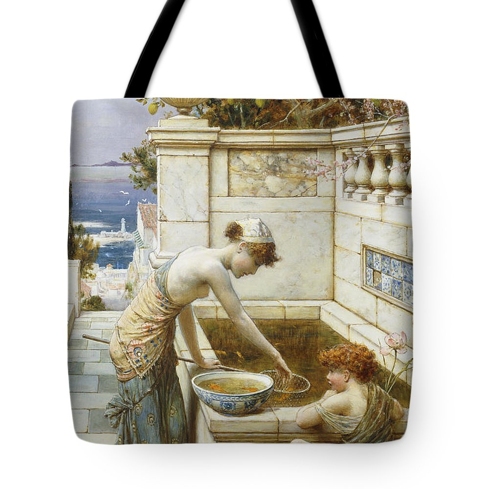 The Goldfish Pond Tote Bag featuring the painting The Goldfish Pond by William Stephen Coleman