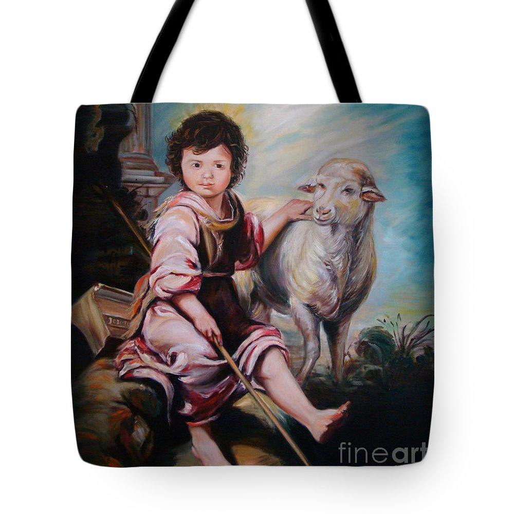 Classic Art Tote Bag featuring the painting The Good Shepherd by Silvana Abel