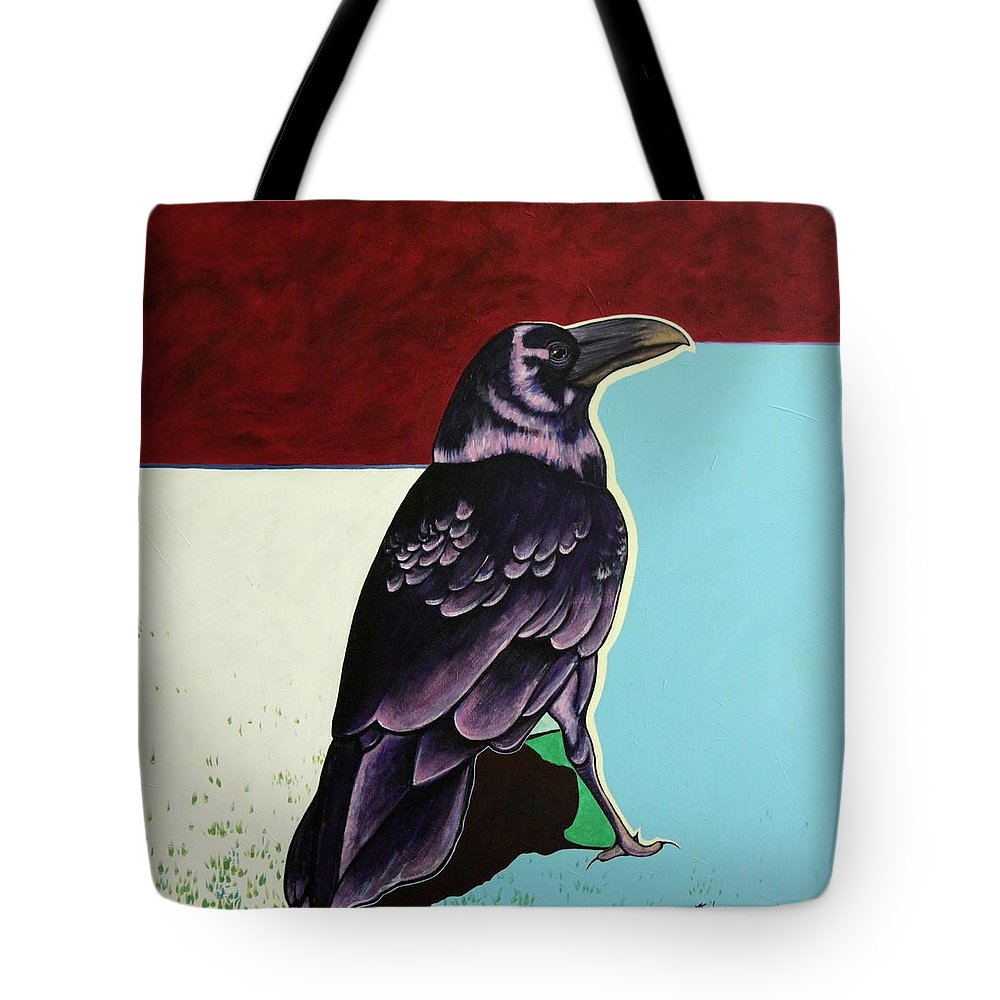 Wildlife Tote Bag featuring the painting The Gossip - Raven by Joe Triano
