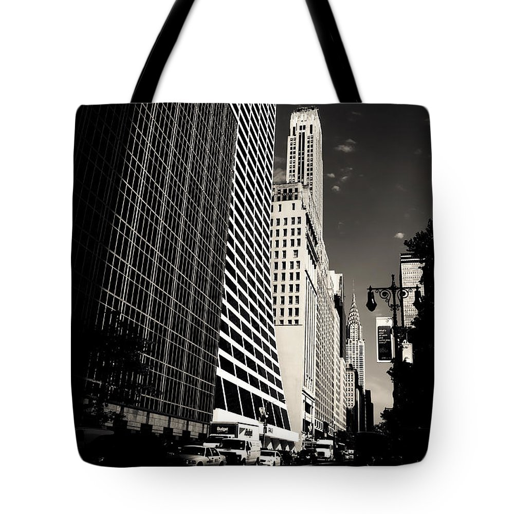 New York City Tote Bag featuring the photograph The Grace Building And The Chrysler Building - New York City by Vivienne Gucwa