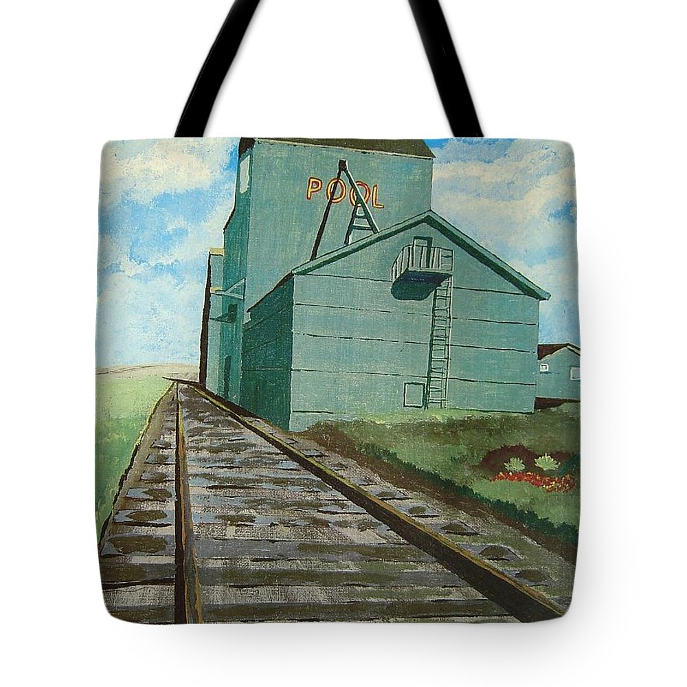 Elevator Tote Bag featuring the painting The Grain Elevator by Anthony Dunphy