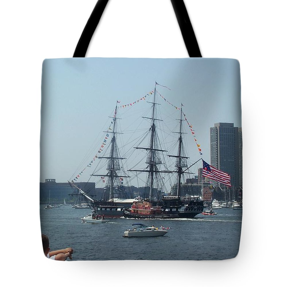 Boston Harbor Tote Bag featuring the photograph The Grand Old Dame Turns by Barbara McDevitt