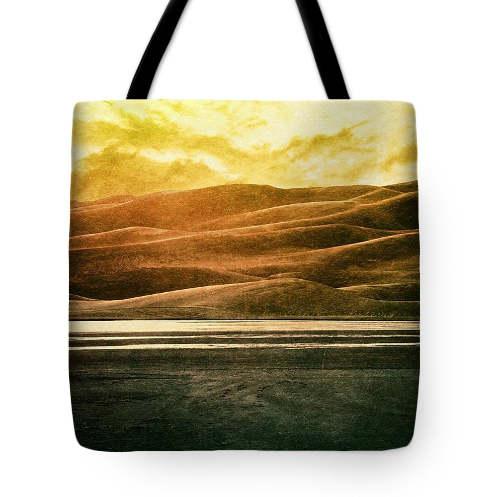 Brett Tote Bag featuring the digital art The Great Sand Dunes by Brett Pfister