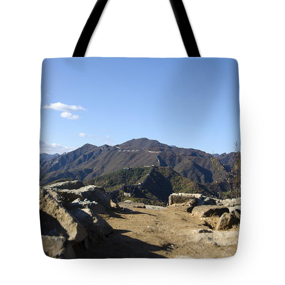 Unmaintained Watchtower On The Great Wall Tote Bag featuring the photograph The Great Wall 858 by Terri Winkler