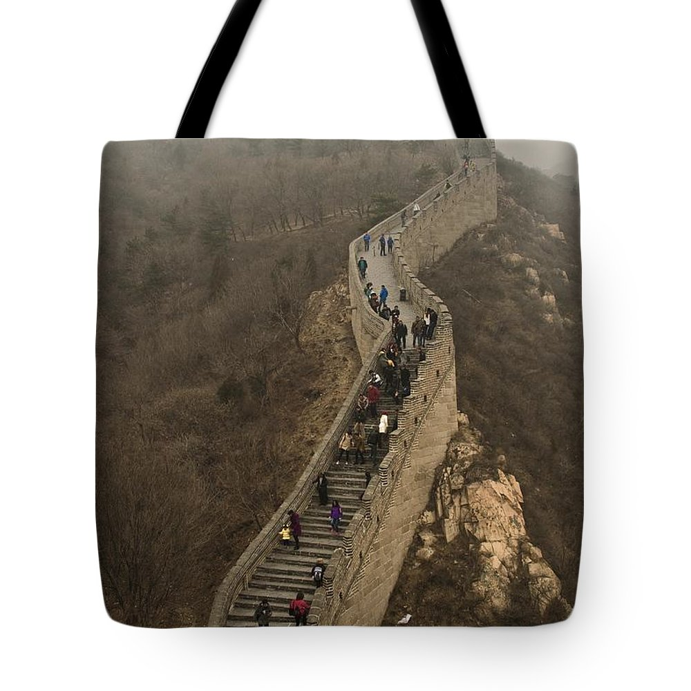 Great Wall Of China Tote Bag featuring the photograph The Great Wall Of China At Badaling - 3 by Hany J