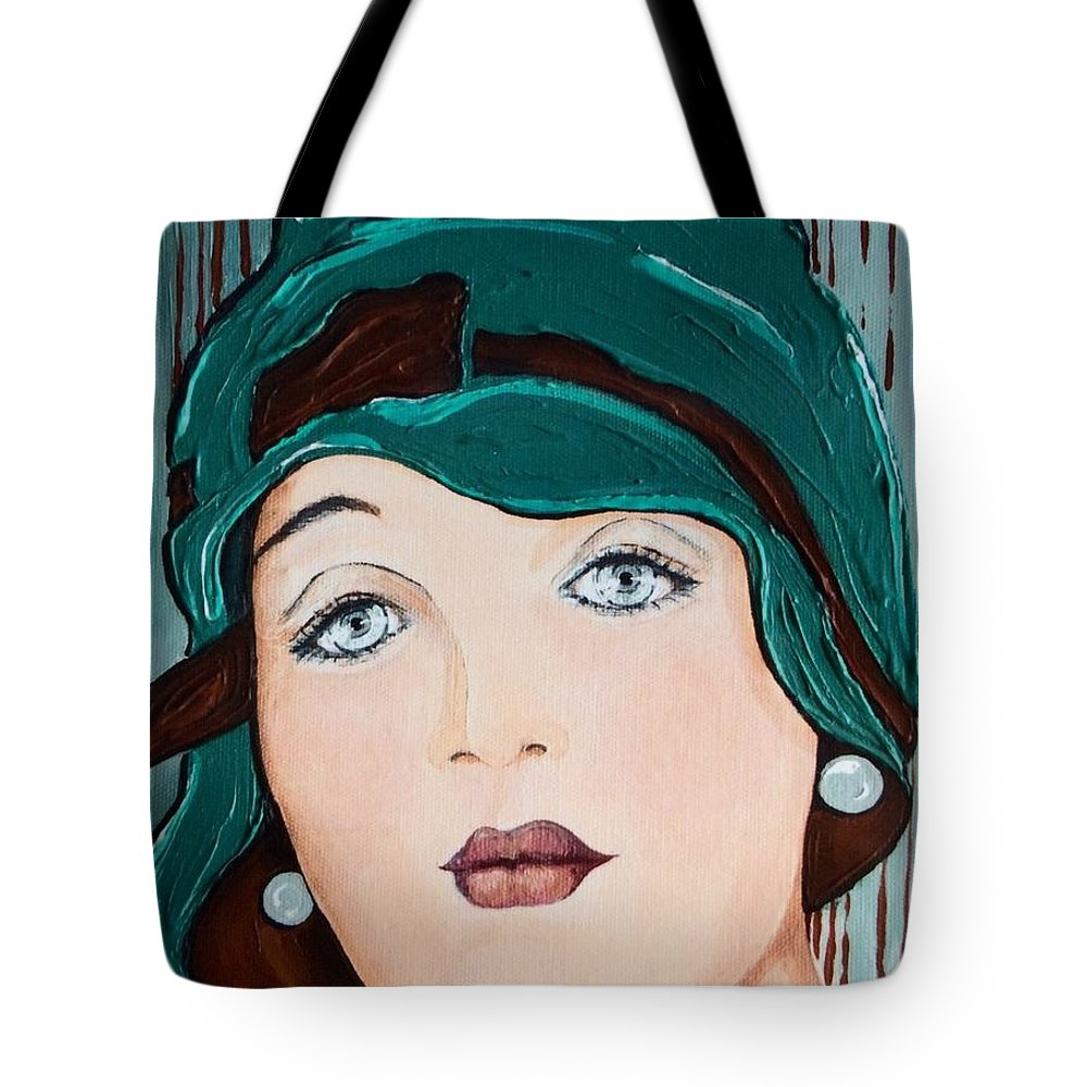 Green Tote Bag featuring the painting Green Cloche by Barbara Chase