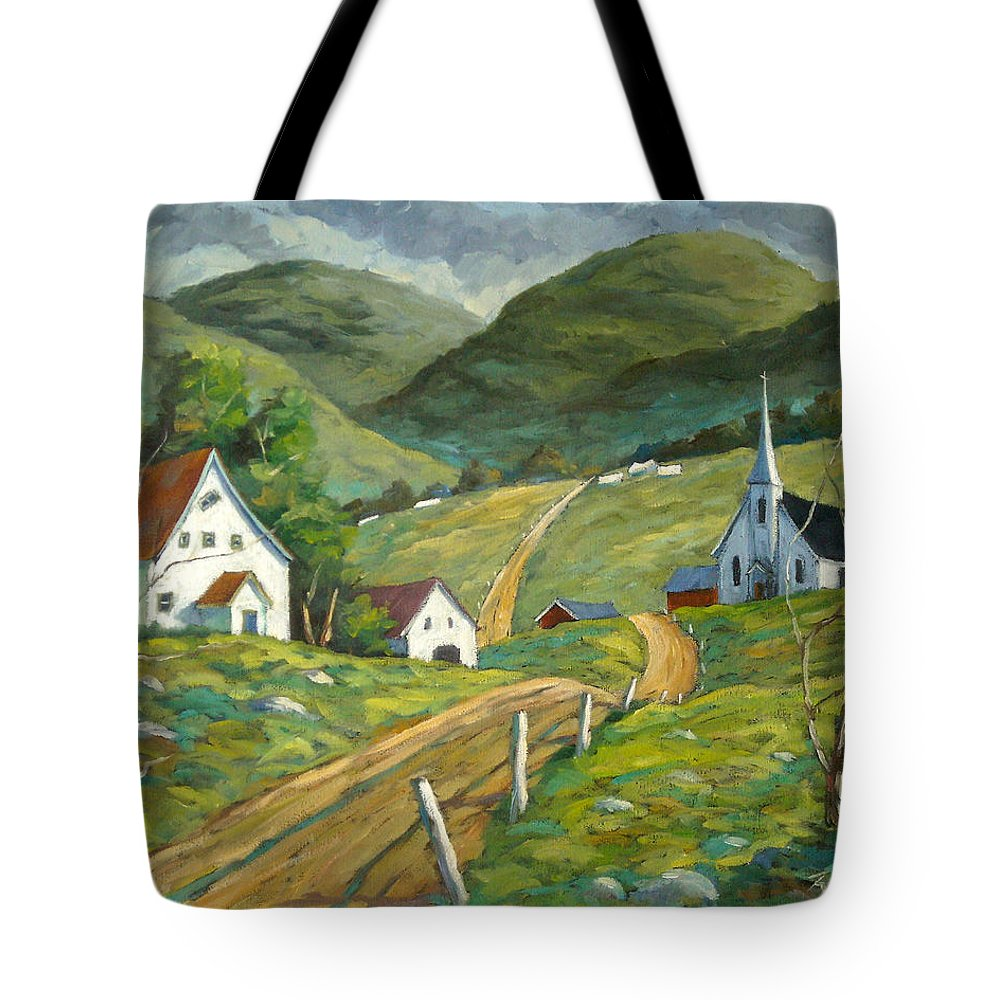 Hills Tote Bag featuring the painting The Green Hills by Richard T Pranke