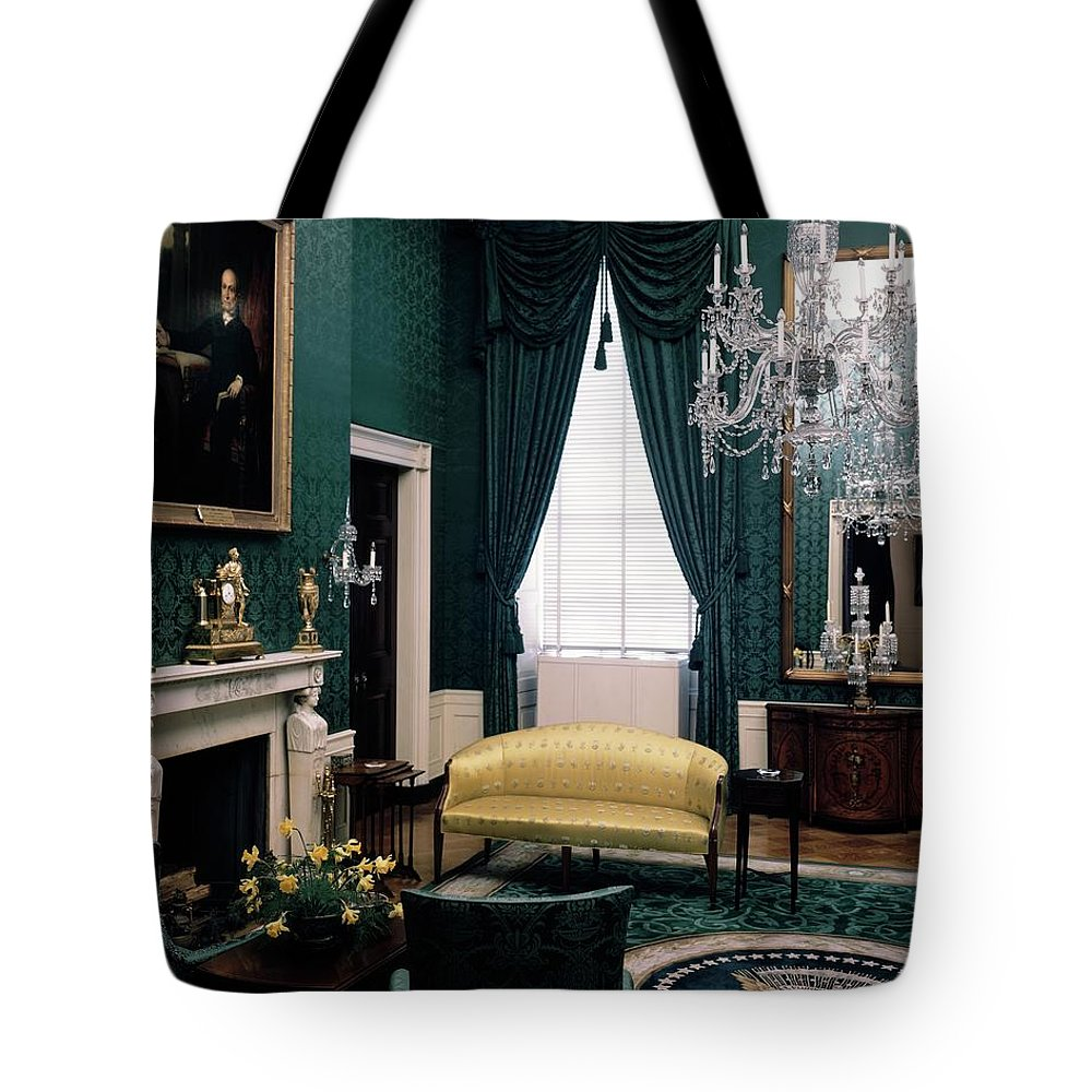 White House Tote Bag featuring the photograph The Green Room In The White House by Haanel Cassidy