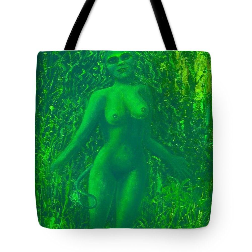 Genio Tote Bag featuring the mixed media The Green Wood Nymph Calls by Genio GgXpress