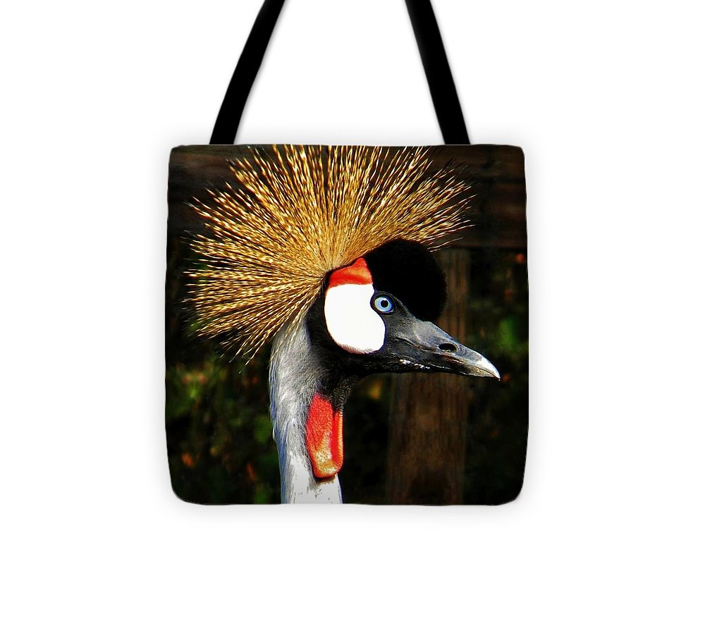 Grey Crowned Crane Tote Bag featuring the photograph The Grey Crowned Crane by Jean Goodwin Brooks