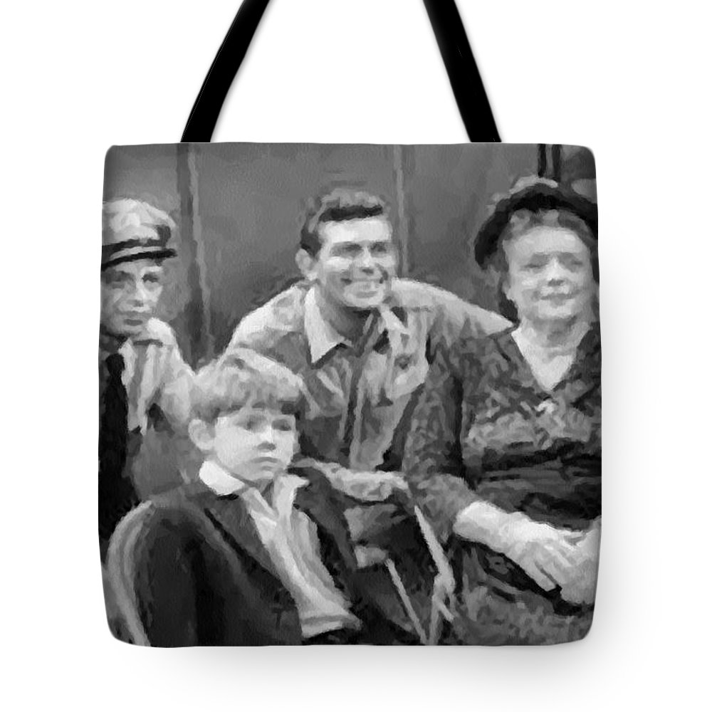 Andy Griffith Tote Bag featuring the digital art The Griffith Household by Paulette B Wright