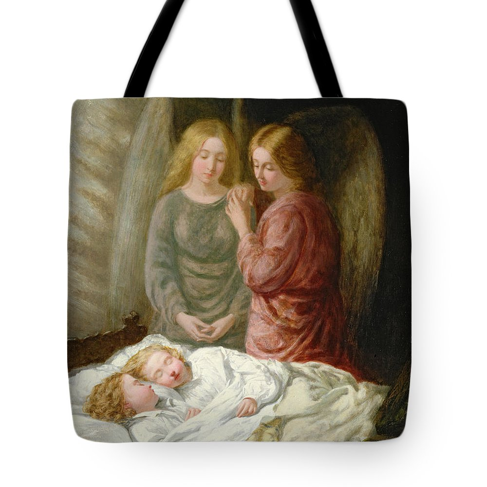 Sleeping Children; Benediction; Twins Tote Bag featuring the painting The Guardian Angels by Joshua Hargrave Sams Mann