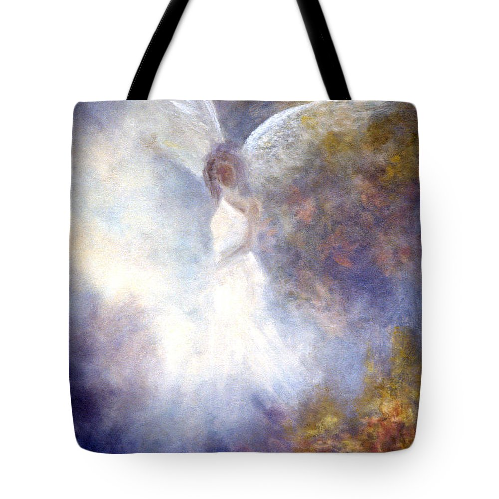 Angel Tote Bag featuring the painting The Guardian by Marina Petro