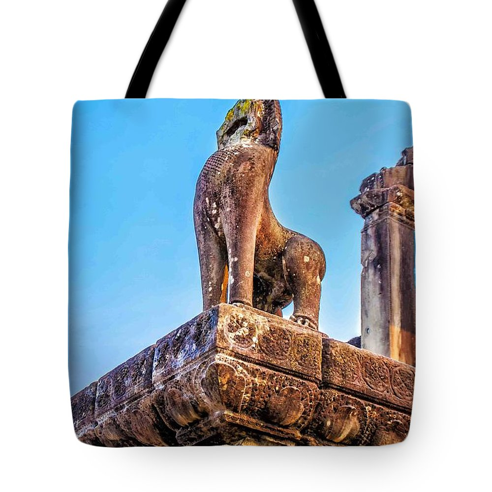 Cambodia Tote Bag featuring the photograph The Guardian by Roberta Bragan
