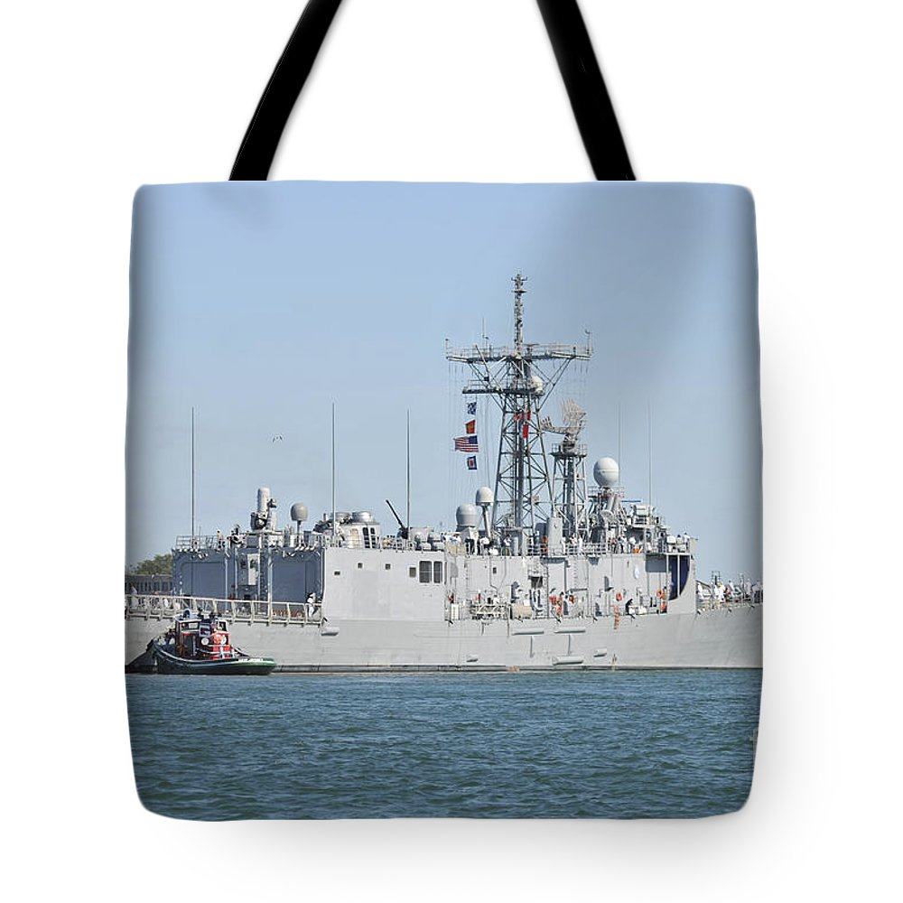 Navy Tote Bag featuring the photograph The Guided-missile Frigate Uss De Wert by Stocktrek Images