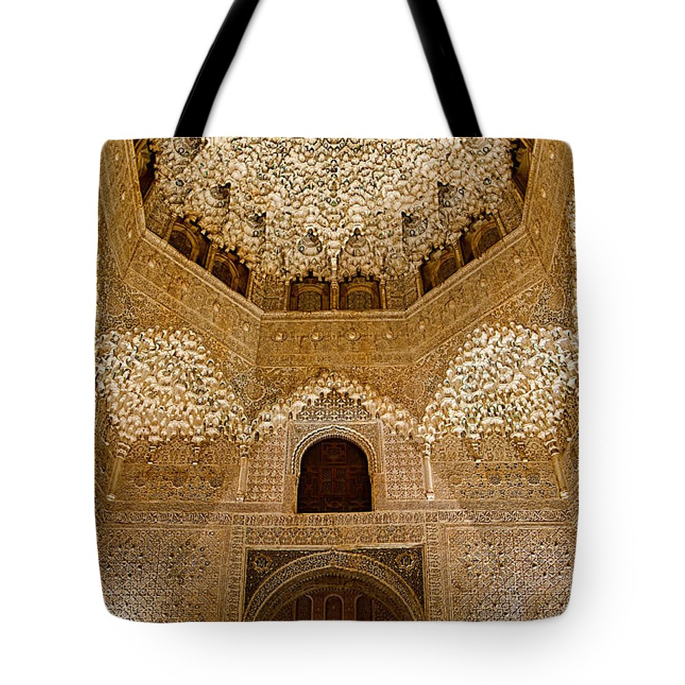 Alhambra Tote Bag featuring the photograph The Hall Of The Arabian Nights by Weston Westmoreland