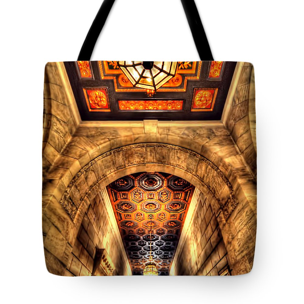 Architecture Tote Bag featuring the photograph The Hallway by Tina Baxter