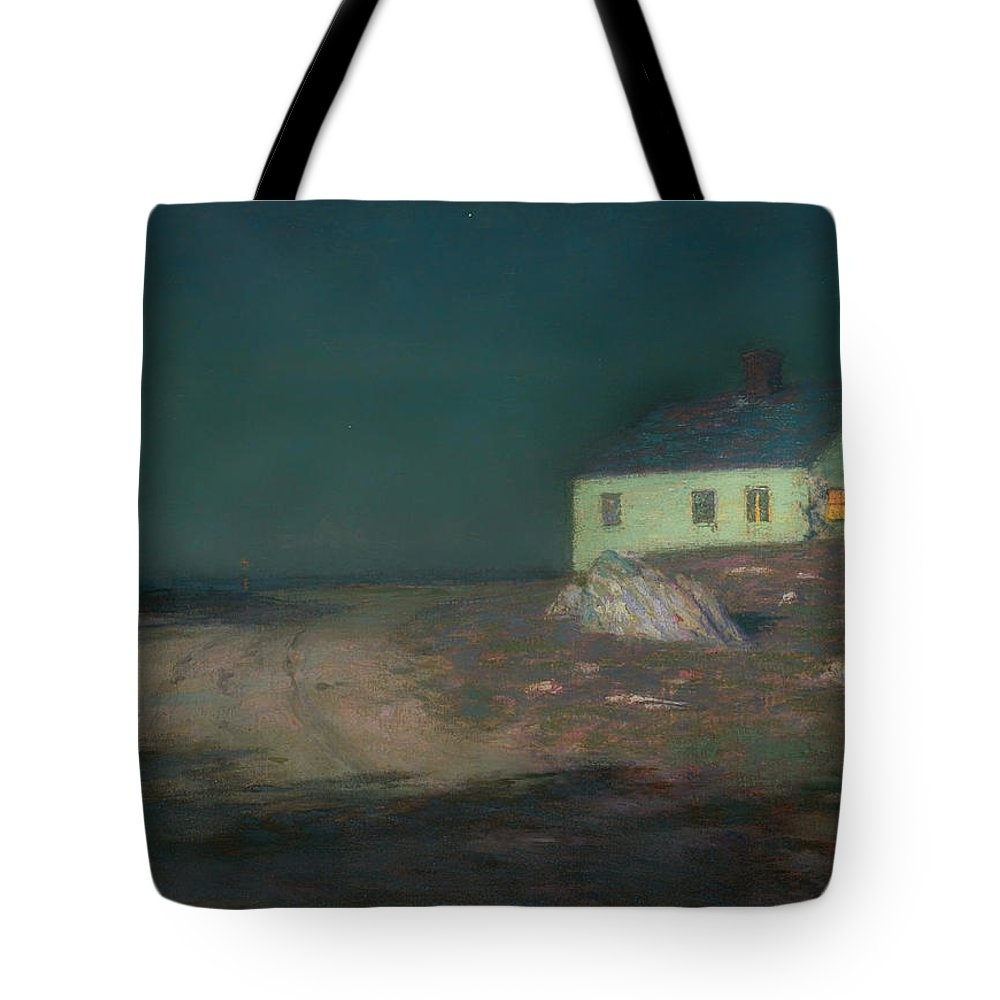 Painting Tote Bag featuring the painting The Harbor Light by Mountain Dreams