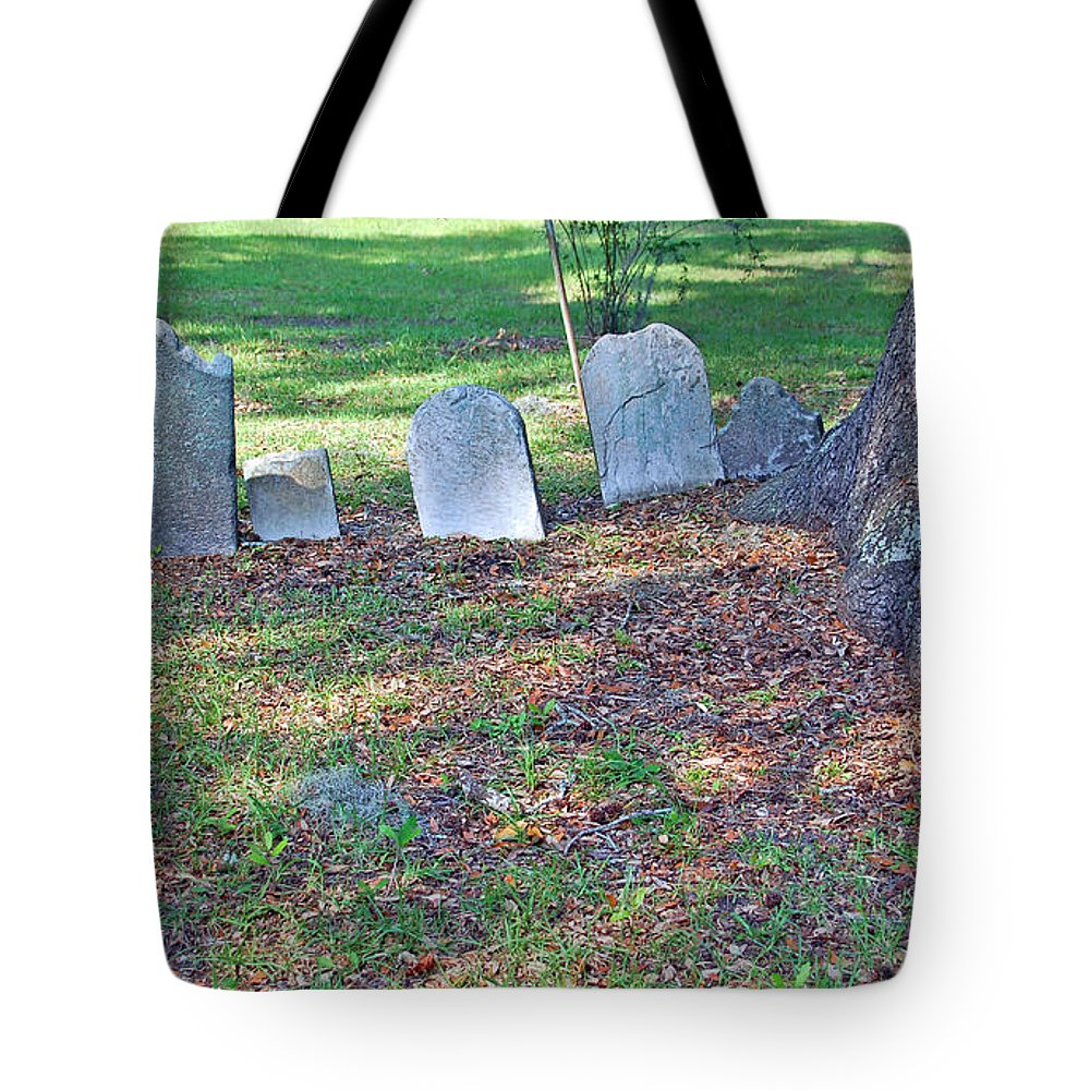 Grave Tote Bag featuring the photograph The Headstones Of Slaves by Suzanne Gaff