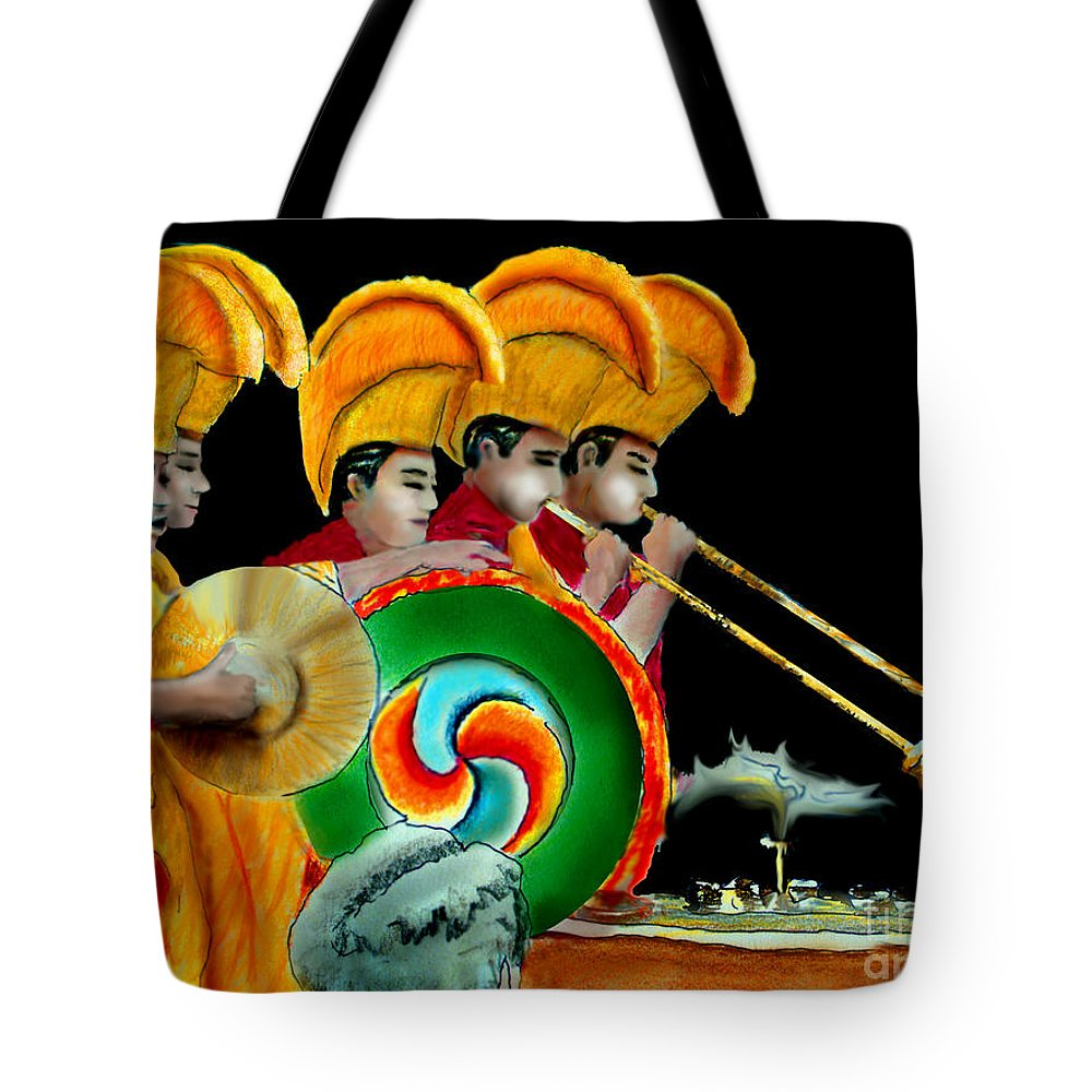 Tibetan Monks Tote Bag featuring the painting The Healing Ceremony by Albert Puskaric