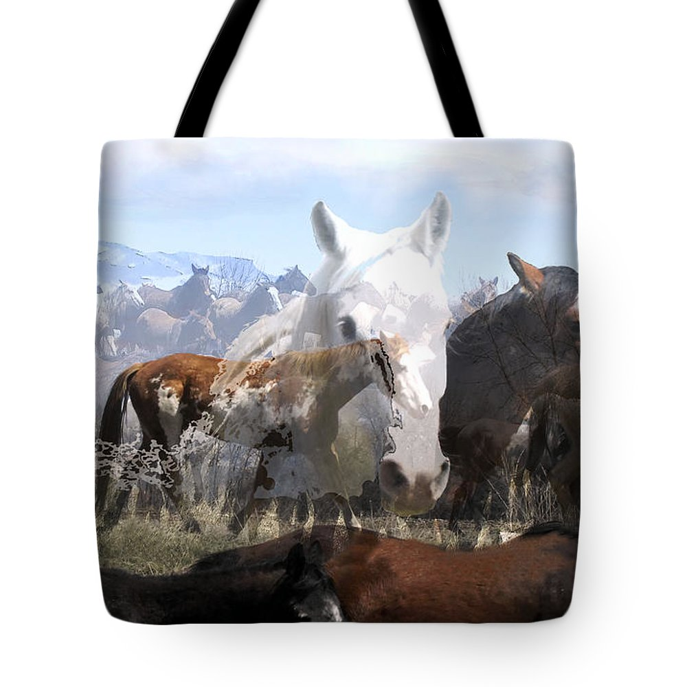 Horses Tote Bag featuring the photograph The Herd 2 by Kae Cheatham