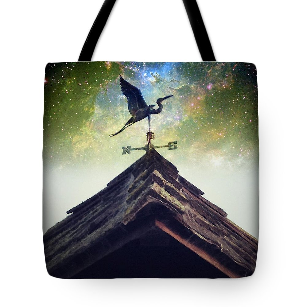 Instagram Tote Bag featuring the photograph The Heron Vane by Anne Thurston