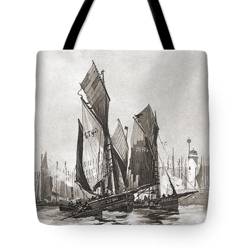 Boat Tote Bag featuring the photograph The Herring Fleet, Scarborough by Ken Welsh