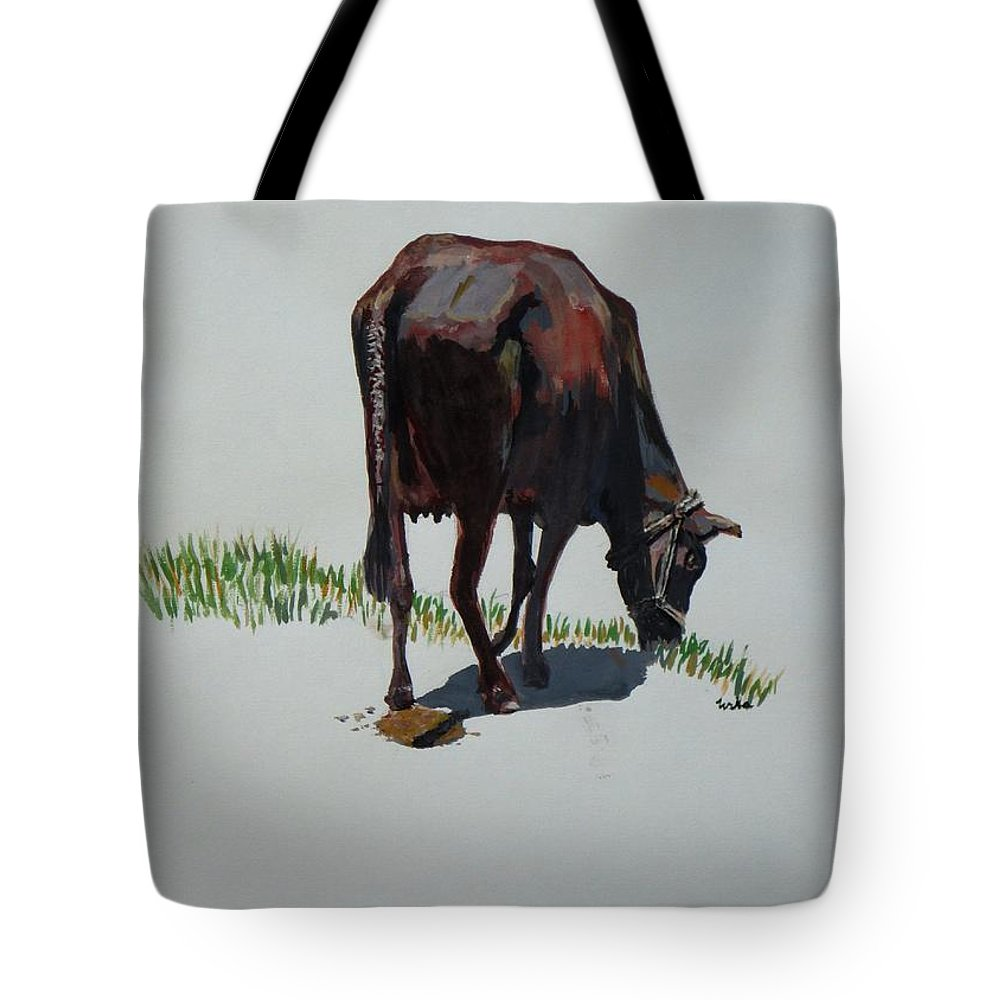 The Holy Cow Tote Bag featuring the painting The Holy Cow And Dung. by Usha Shantharam