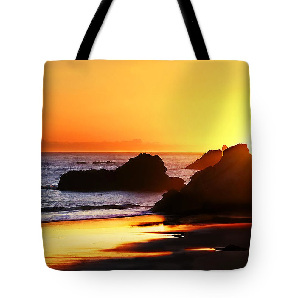 Pacific Coast Tote Bag featuring the photograph The Honeymoon Sunset by Abram House