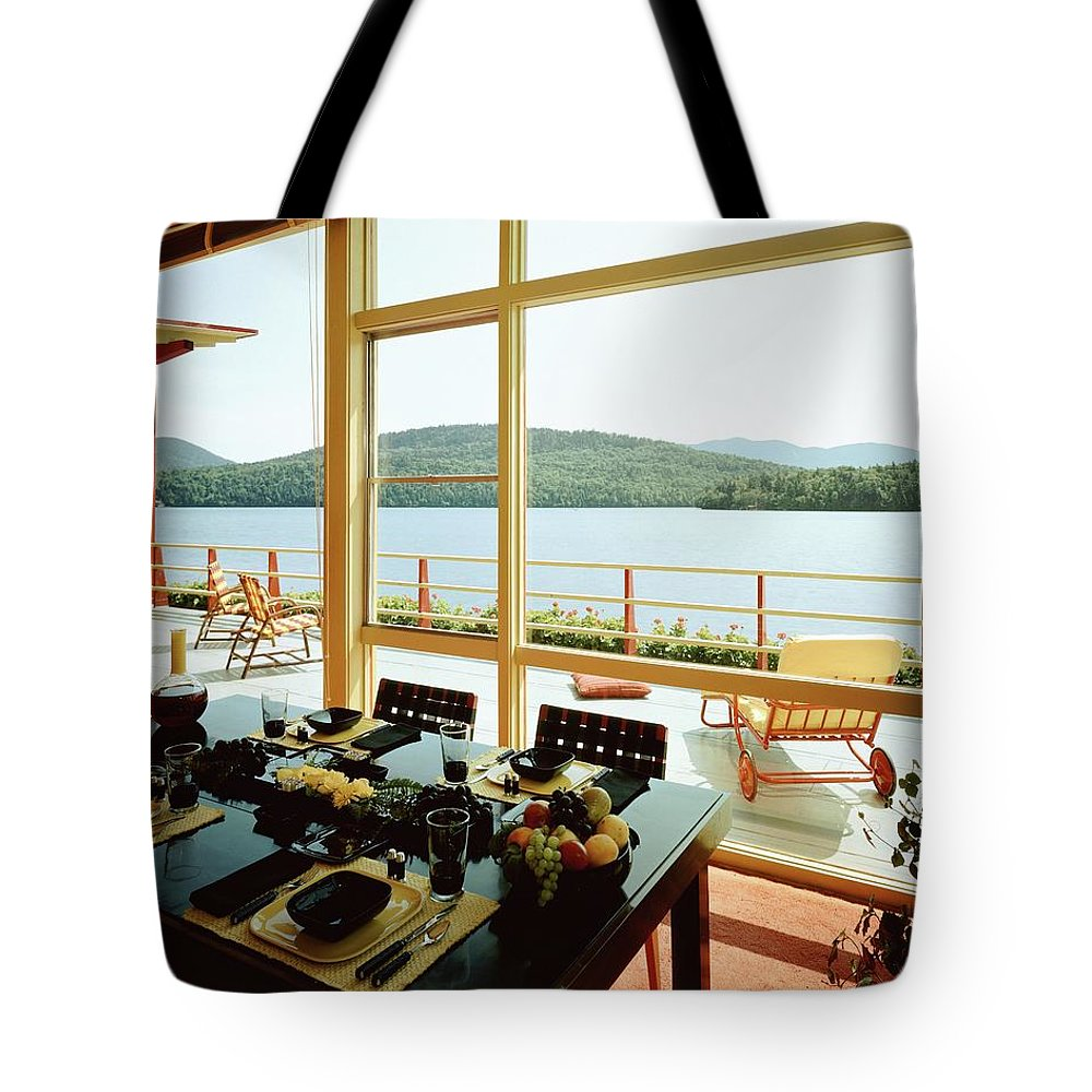 Indoors Tote Bag featuring the photograph The House Of Mr. And Mrs. Alfred Rose On Lake by Robert M. Damora