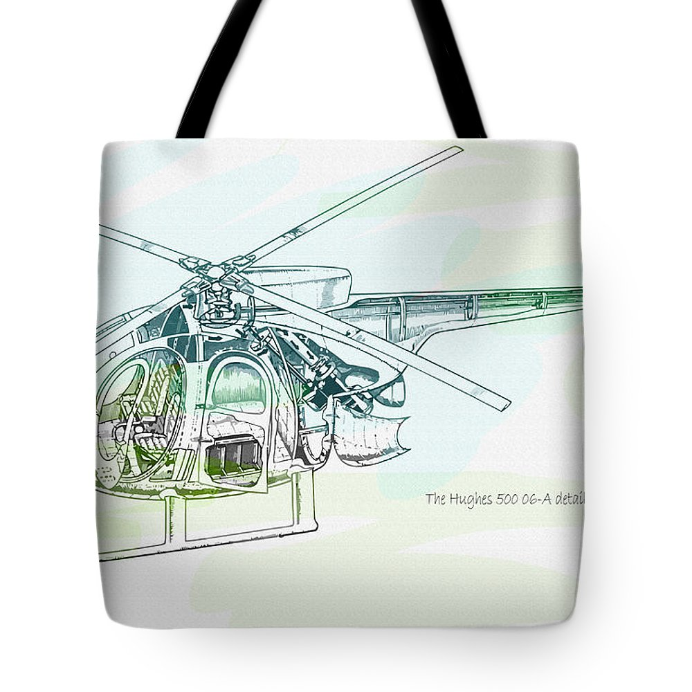 Decorative Tote Bag featuring the digital art The Hughes 500 06-a Detail by Don Kuing