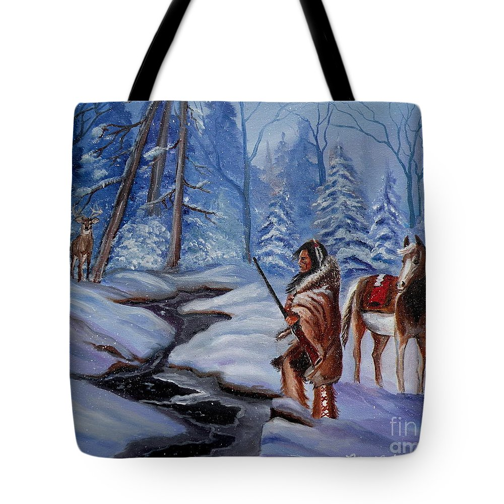 Winter Landscape Tote Bag featuring the painting The Hunt by Lora Duguay
