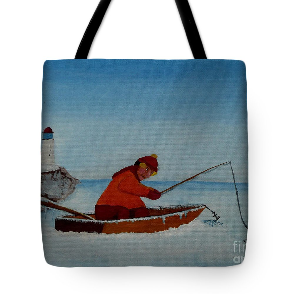 Stupid Tote Bag featuring the painting The Ice Fisherman by Anthony Dunphy