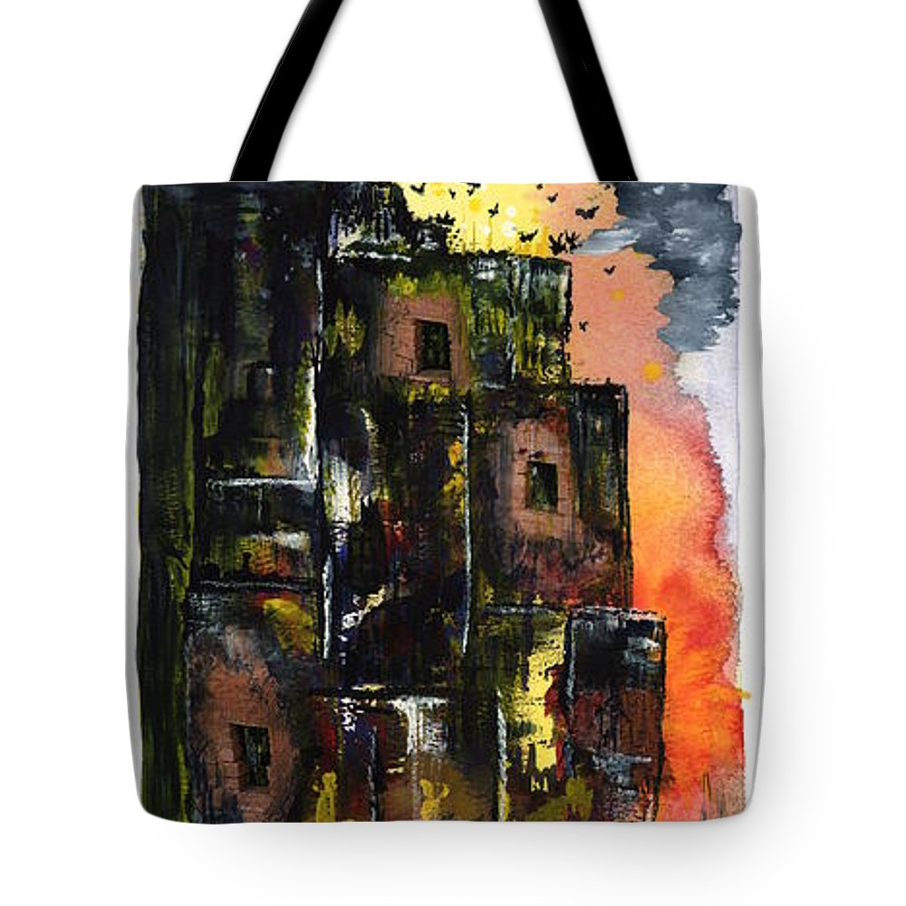 Contemporary Expressionism Tote Bag featuring the painting The Inferno by Linda Wimberly